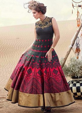 New Black & Pink Banglori Silk Designer Gown @ Rs3376.00
