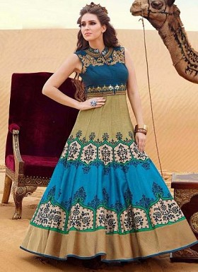 New Dark Blue & Beige Banglori Silk Designer Gown @ Rs3465.00