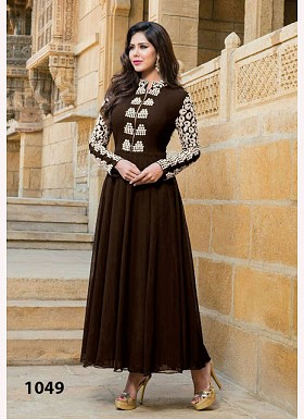 Brown Georgette Long Anarkali Suit @ Rs742.00