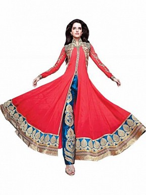 red designer anarkali suit @ Rs742.00
