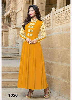 Mustard Georgette Long Anarkali Suit @ Rs742.00