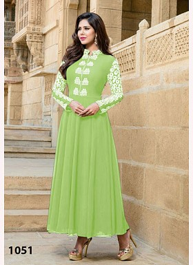 Neon Green Georgette Long Anarkali Suit@ Rs.742.00