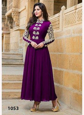 Purple Color Georgette Long Anarkali Suit @ Rs618.00