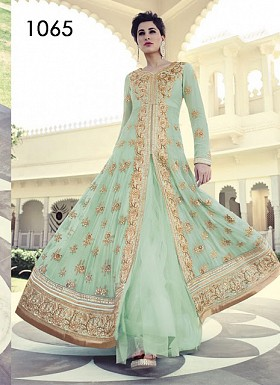 Green Colour Shades With Heavy Embroidery Anarkali Suit@ Rs.1235.00