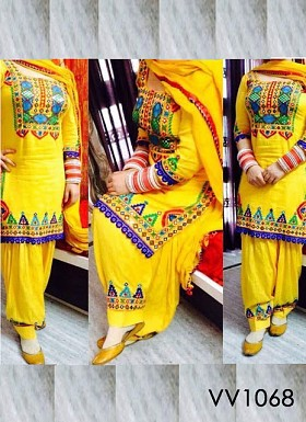 Beautiful Yellow Patiyal Embroidery Designer Salwar Suit @ Rs804.00