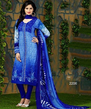 Unstitched Long Straight Pakistani style elegant printed suit for summer@ Rs.1113.00