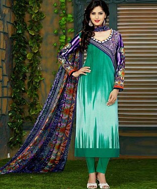Unstitched cotton straight  suit @ Rs1236.00