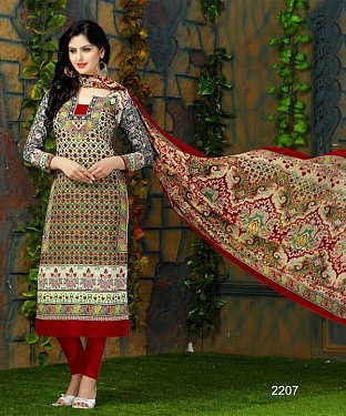 Unstitched Long Straight Pakistani style elegant printed suit for summer @ Rs1113.00