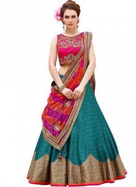 New Pink And Teal Baglori Silk Lehenga Choli@ Rs.1235.00
