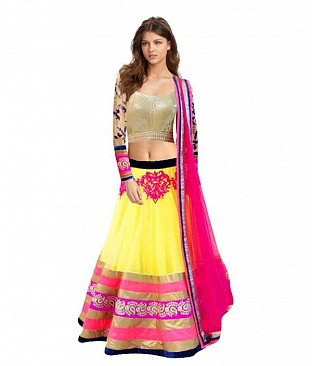 Tamanna Net Embroidered Unstitched Lehenga @ Rs3398.00