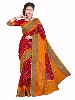Red & yellow Color Bandhani Sarees With Blouse @ Rs1482.00