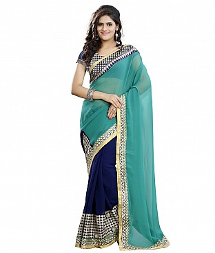 Style Sensus Turquoise Faux Georgette Saree @ Rs2318.00
