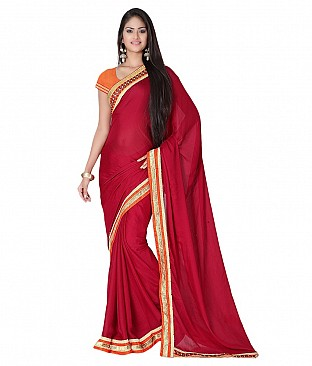 Style Sensus Maroon Faux Georgette Saree @ Rs2704.00