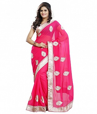 Style Sensus Pink Faux Georgette Saree @ Rs1888.00