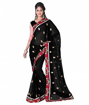 Style Sensus Black Faux Georgette Saree @ Rs2883.00
