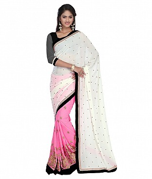 Style Sensus Pink Faux Georgette Saree @ Rs1956.00