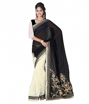 Style Sensus Black Faux Georgette Saree @ Rs2471.00