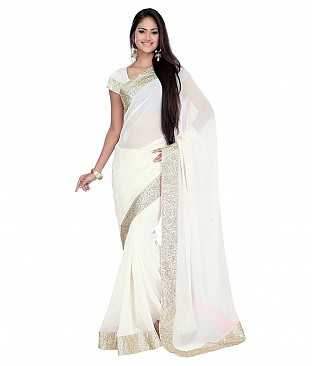 Style Sensus White Faux Georgette Saree @ Rs1956.00