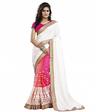 Style Sensus White Faux Georgette Saree @ Rs2574.00
