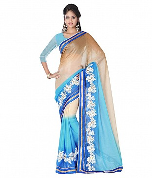 Style Sensus Blue Faux Georgette Saree @ Rs2471.00