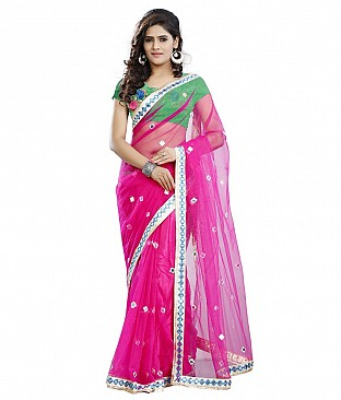 Style Sensus Pink Raw Silk Saree @ Rs1821.00