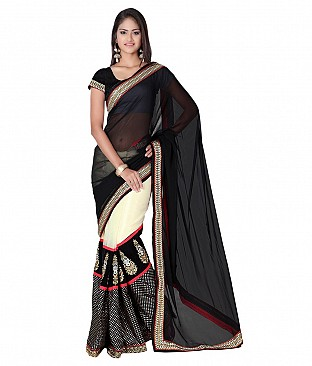 Embroidered Black Faux Georgette Saree @ Rs2471.00