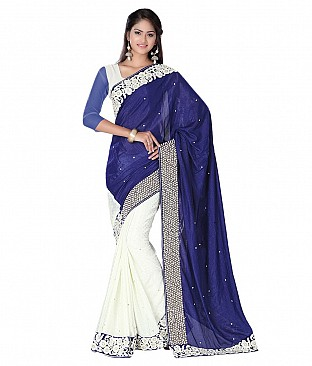 Blue Faux Chiffon Saree With Blouse Piece @ Rs3501.00