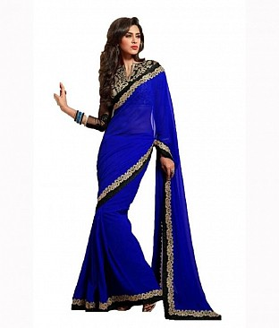 Aanaya Fashion Blue Faux Georgette Saree @ Rs1618.00