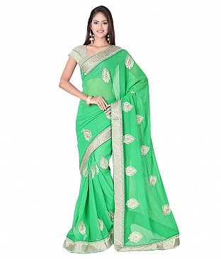 Embroidered Saree With Blouse Piece @ Rs2077.00