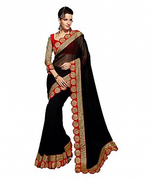 Embroidered Saree With Blouse Piece @ Rs2265.00