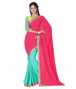 Embroidered Saree With Blouse Piece  Faux Georgette @ Rs2163.00