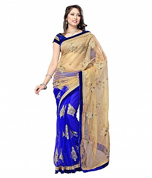 Embroidered Saree With Blouse Piece  Faux Georgette @ Rs1082.00