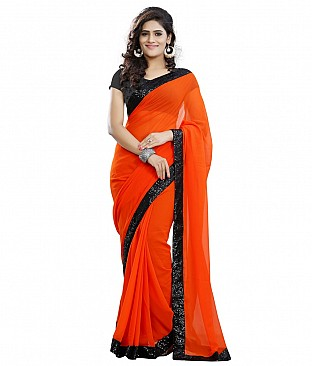 Embroidered Saree With Blouse Piece  Faux Georgette @ Rs1544.00