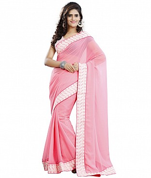 Embroidered Saree With Blouse Piece  Faux Georgette @ Rs2318.00