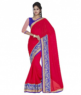 Embroidered Saree With Blouse Piece  Faux Georgette @ Rs2704.00