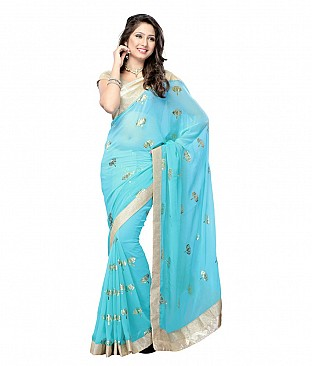Aanaya Fashion Blue Faux Georgette Saree @ Rs1235.00