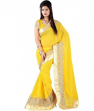 GC Sarees Yellow Chiffon Saree @ Rs2246.00
