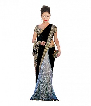 Krishna Enterprises Black Raw Silk Saree @ Rs2677.00