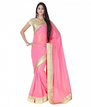 Style Sensus Pink Faux Georgette Saree @ Rs2471.00