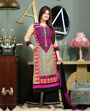 Embroidered Cotton Suit with Dupatta@ Rs.232.00