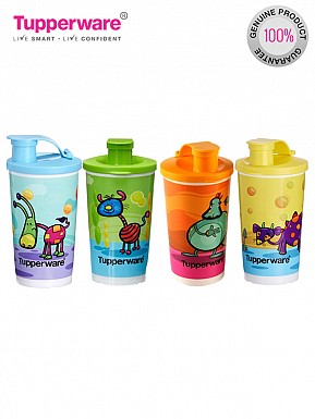 Tupperware Printed Tumbler With Sipper Seal 350 ml Water Bottles (Set of 4, Multicolor) @ Rs974.00