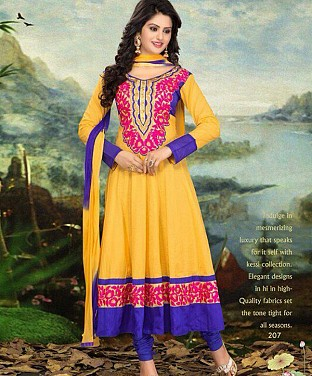 Cotton Embroidered Anarkali Semi Stitched Salwar Suit @ Rs1338.00