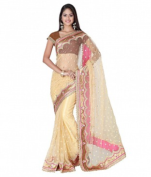 Embroidered Net Saree With Blouse Piece @ Rs3313.00