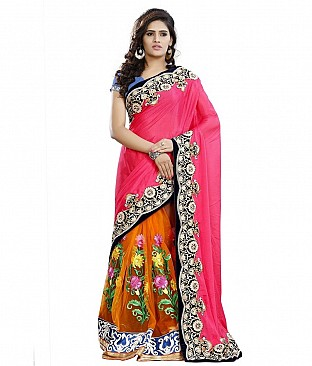 Embroidered Faux Georgette Saree With Blouse Piece @ Rs3018.00