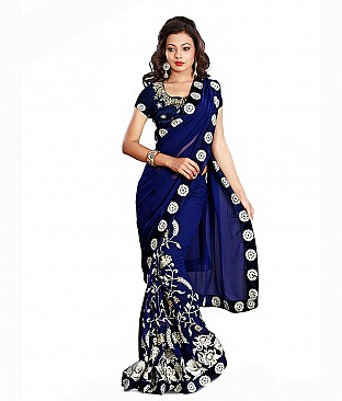 Aashi Embroidered Faux Georgette Saree With Blouse Piece @ Rs2627.00