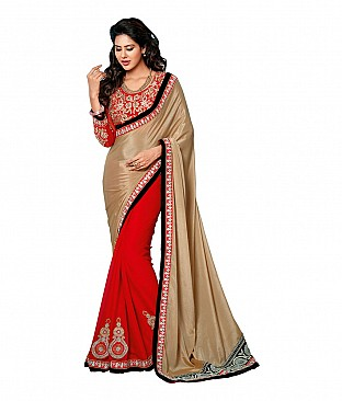 Pooja Fashion Embroidered Faux Georgette Saree With Blouse Piece @ Rs2832.00