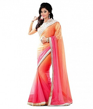 The Lots Embroidered Pure Georgette Saree With Blouse Piece @ Rs1853.00