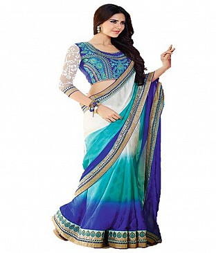 Embroidered Faux Georgette Saree With Blouse Piece @ Rs2313.00