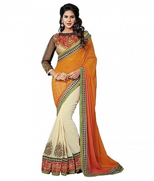 Embroidered Faux Georgette Saree With Blouse Piece @ Rs3348.00