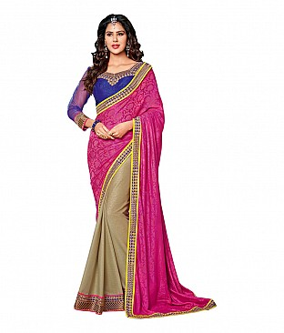 Embroidered Faux Chiffon Saree With Blouse Piece @ Rs2729.00